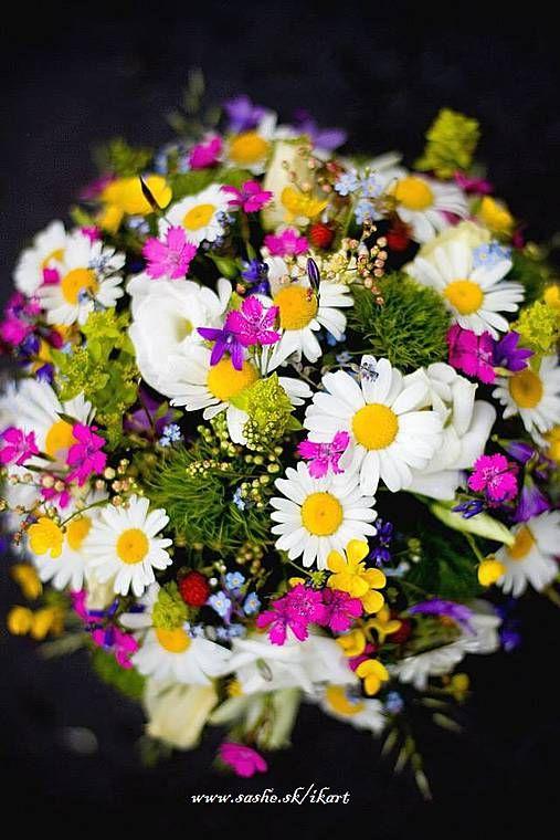 Kytice pre nevestu - Lúčna svadobná kytica - 4145292_