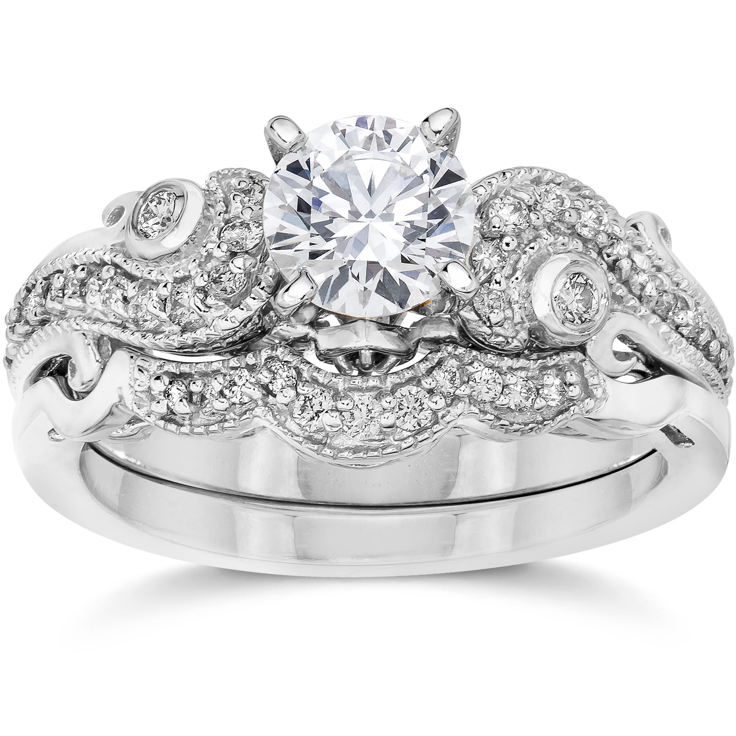 bliss 14k white gold 3 4ct tdw vintage diamond engagement wedding