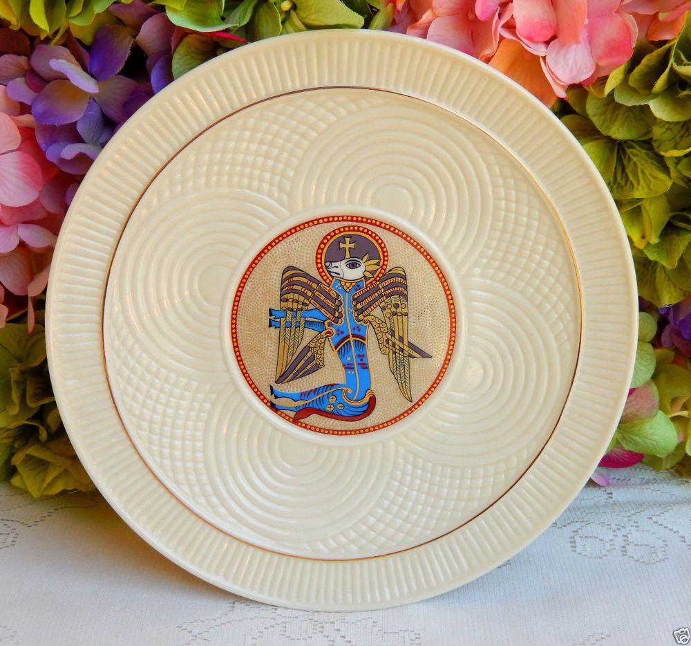 Belleek China u0026 Dinnerware | eBay & Beautiful Vintage Belleek Porcelain Book of Kells Plate ~ St Luke ...