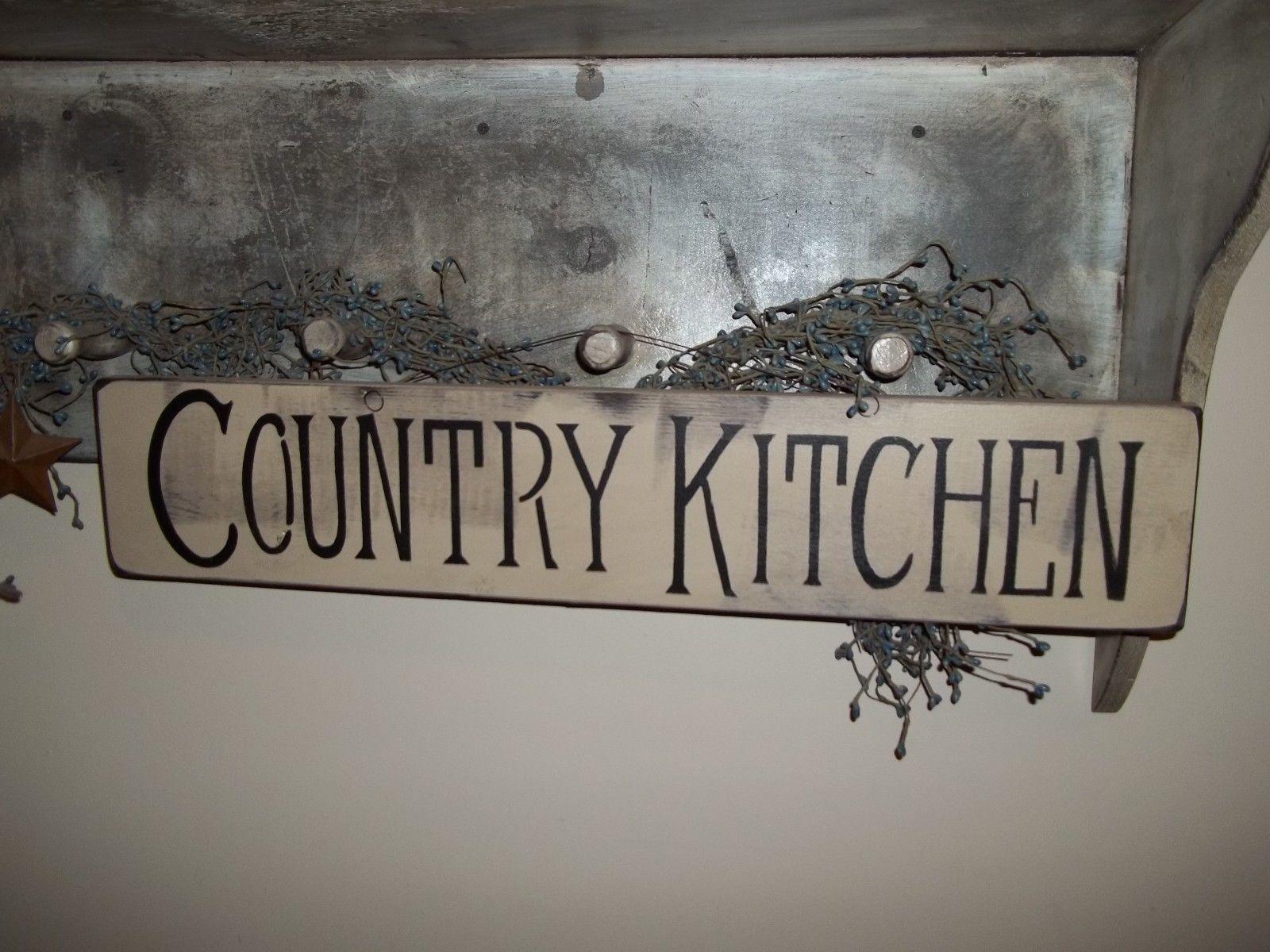 Wood Sign COUNTRY KITCHEN Prim VTG Handmade