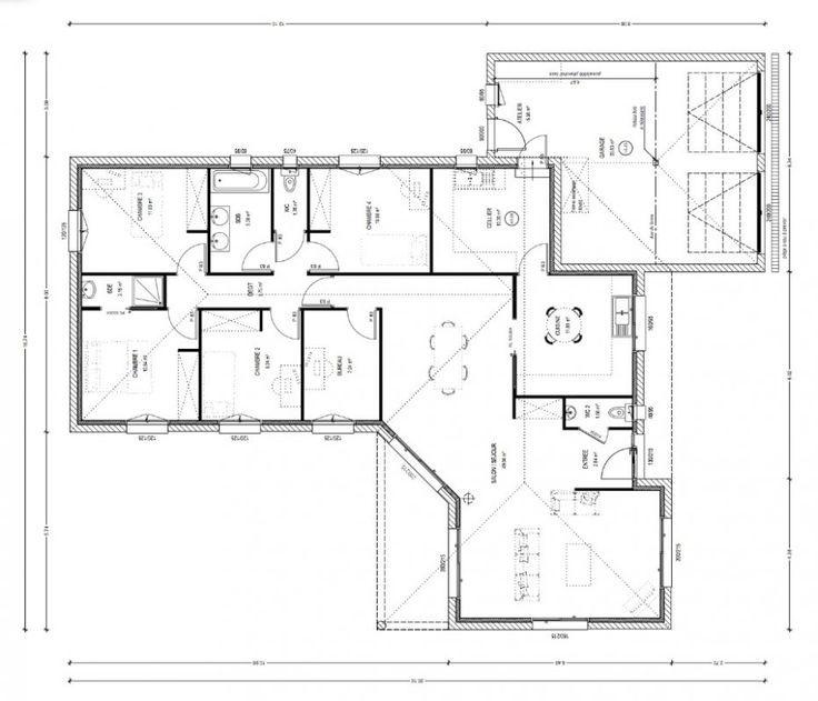Exceptionnel Plan De Maison Plain Pied 100m2 Villas Pinterest - plan de maison de 100m2 plein pied