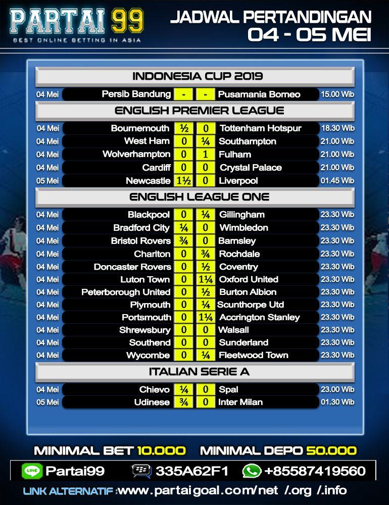 Jadwal Pertandingan Sepak Bola Tanggal 04 05 Mei 2019
