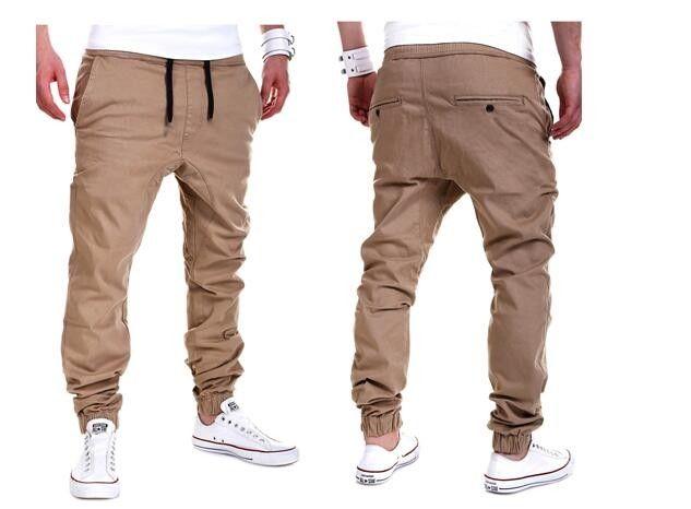 Pánské plátěné kalhoty s nízkým rozkrokem béžové – VELIKOST L Na tento  produkt se vztahuje nejen 8dc2ec0304
