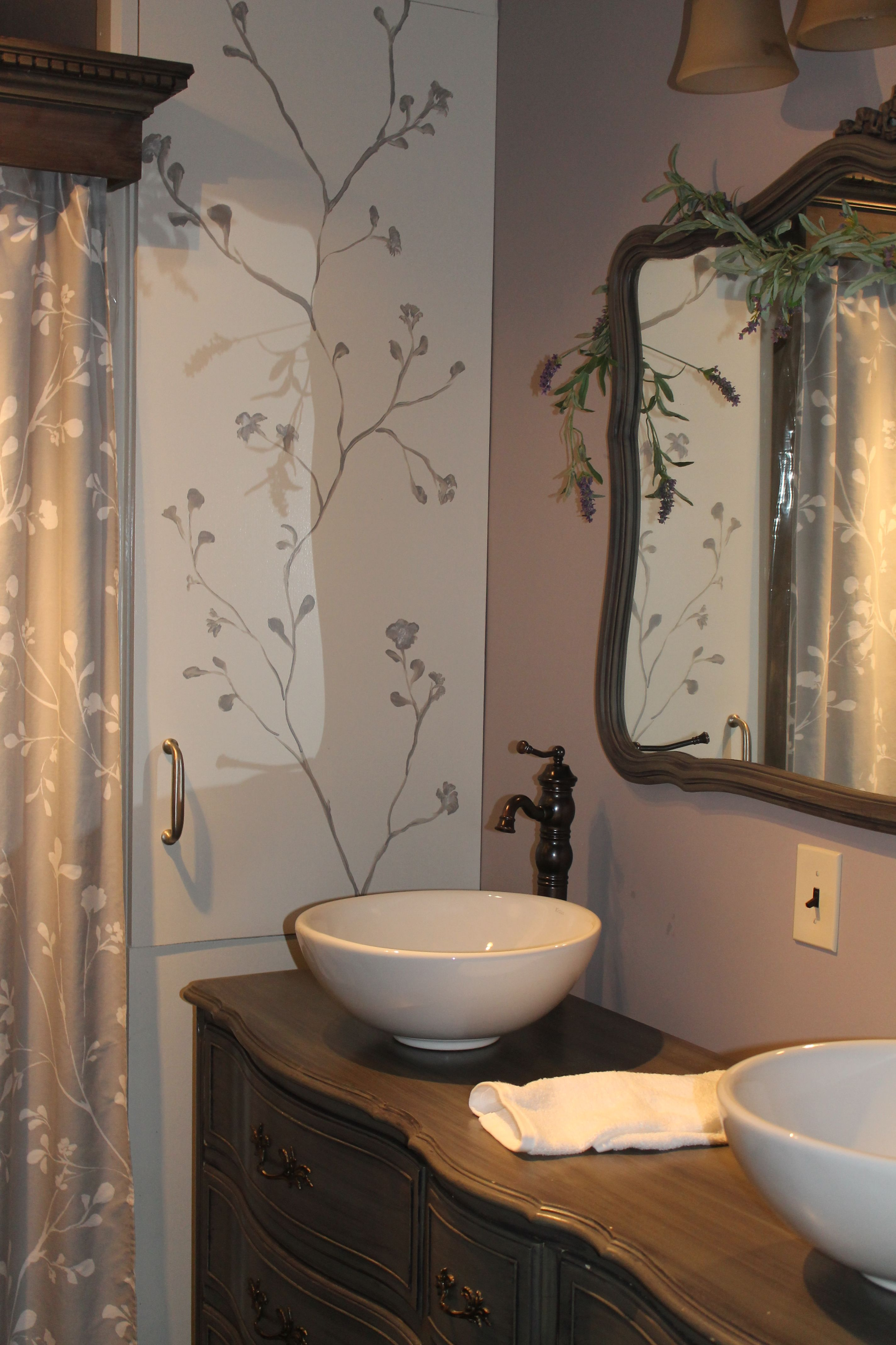 master bathroom with dual porcelain white bowl sinks placed on a rh pinterest com