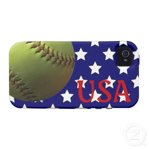 $48.55 Yellow Softball USA Red White and Blue. You knew it was coming, our most popular design! Yellow Softball against a dark blue background with white stars. Similar to the US Flag, these patriotic colors represent America, our country, USA.