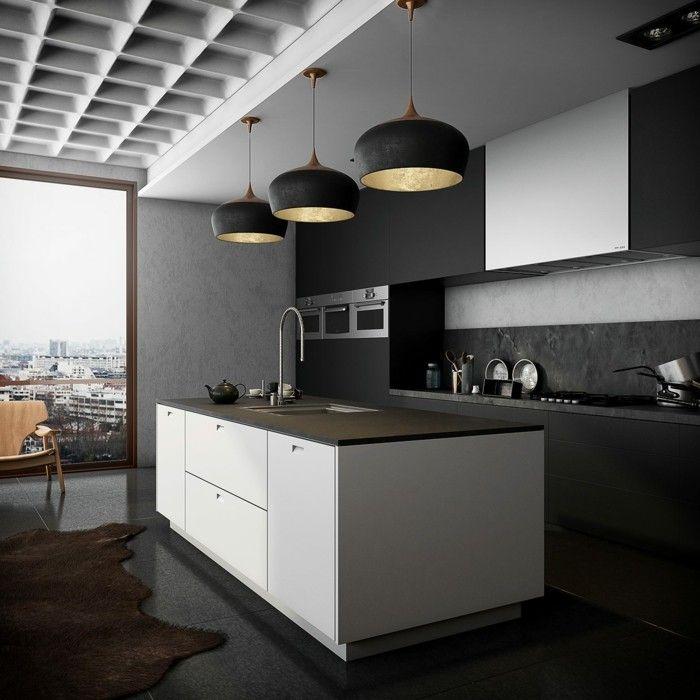 schwarze kücheneinrichtung mit weißem kücheninsel | Küche Möbel ...