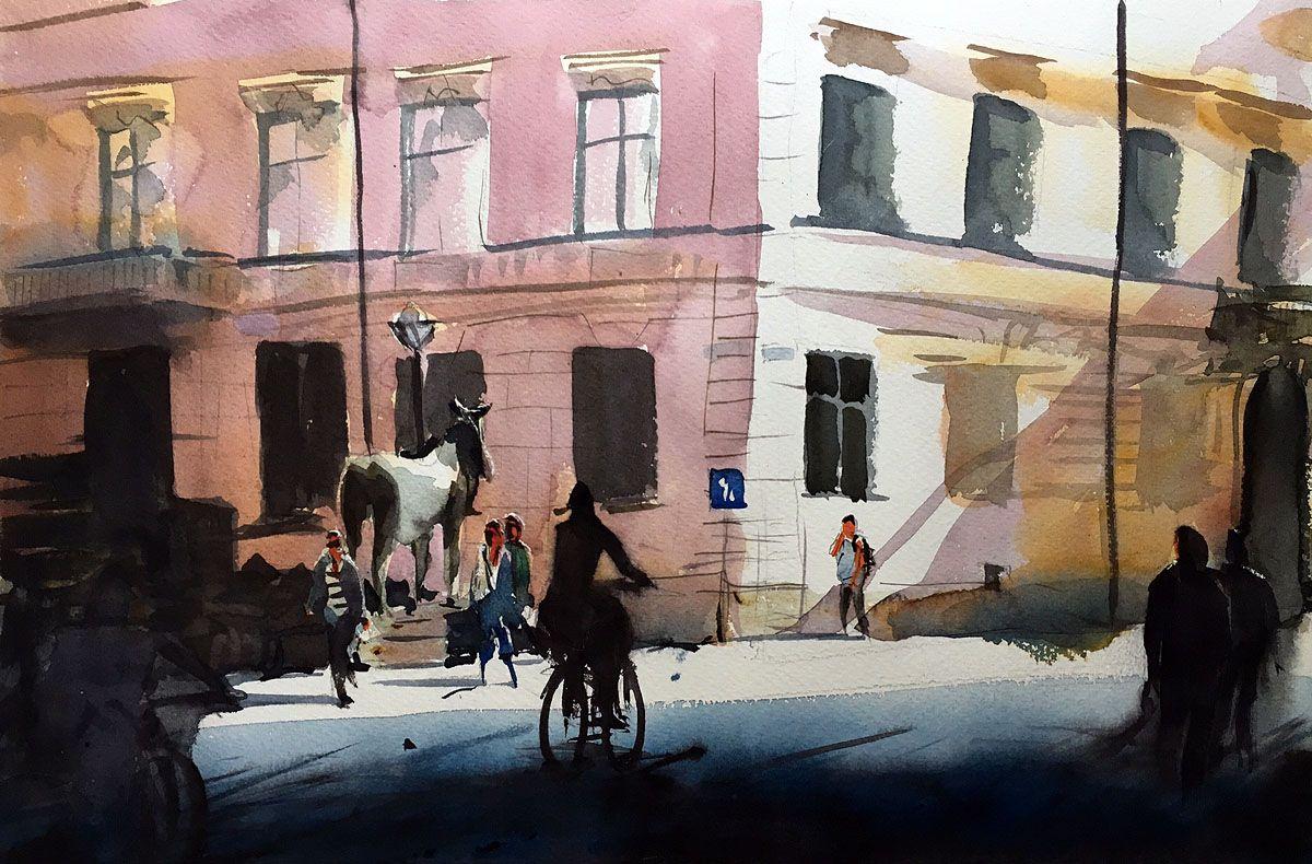 Blasieholmstorg, Stockholm. Akvarell av Stefan Gadnell. SOLD