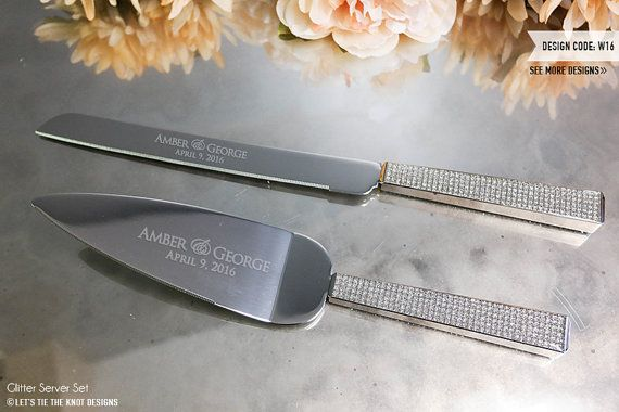 ec226d06202e2 Personalized Glitter Wedding Cake Knife and Server Set (2 PC) Custom  Engraved Cake Knife and Server