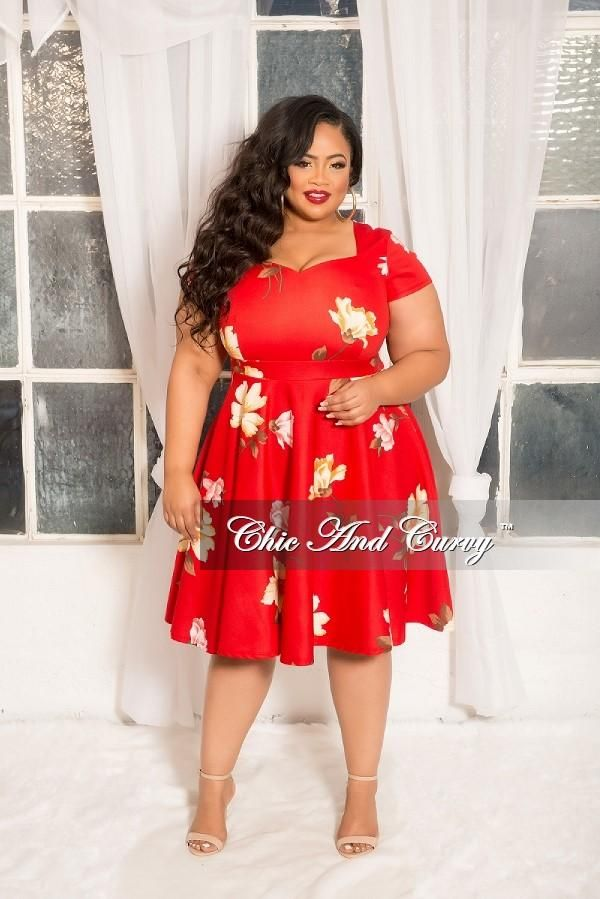 Plus Size Floral Skater Dress With Sweetheart Neck Line In Red