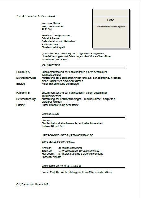 cv template germany