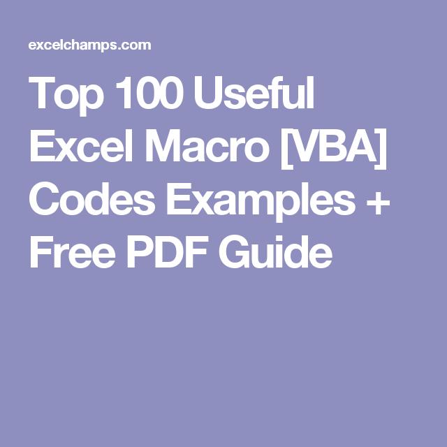 Top 100 Useful Excel Macro [VBA] Codes Examples + Free PDF