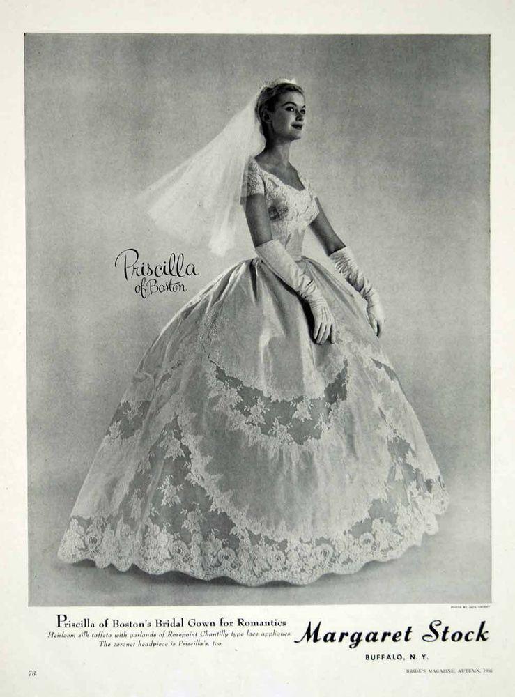 1956 Ad Vintage Priscilla of Boston Wedding Dress Bride Bridal Gown ...