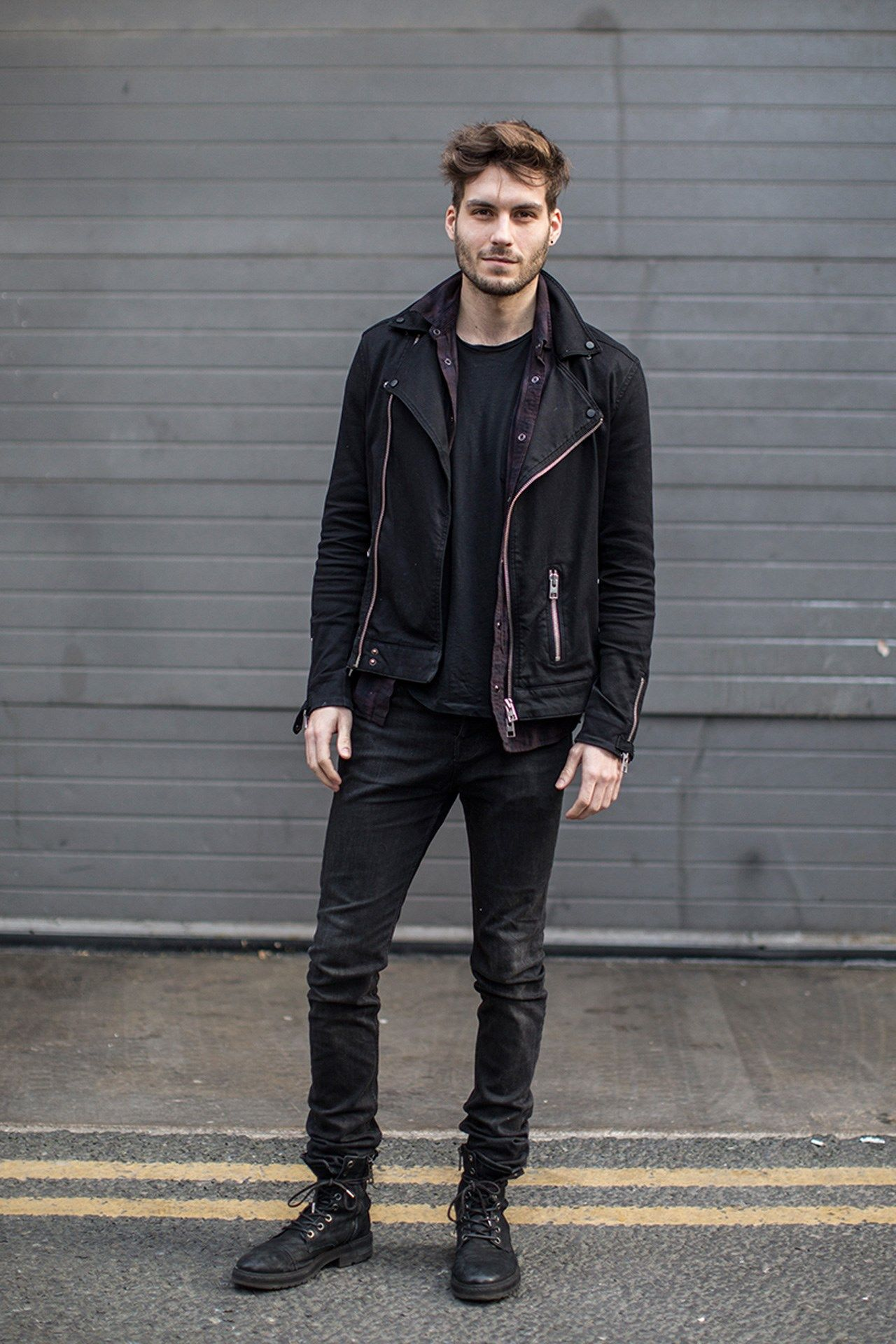 ways to wear all black everything black and black monochrome menswear mens  fashion street style biker jacket
