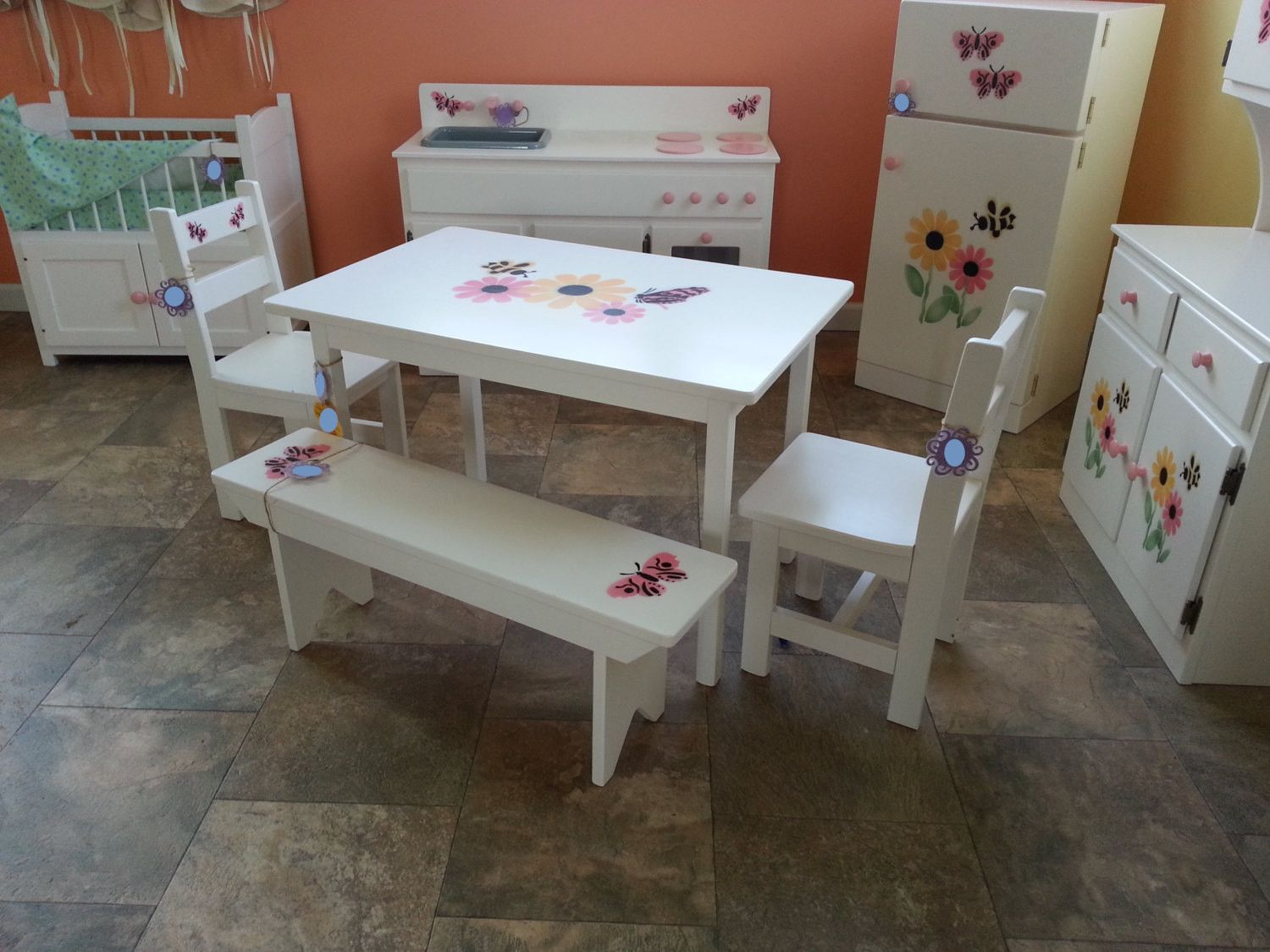 Wooden Toddler Table Chair Bench Set Pretend Play Furniture Montessori  American Folk Toy Gift Prop 286