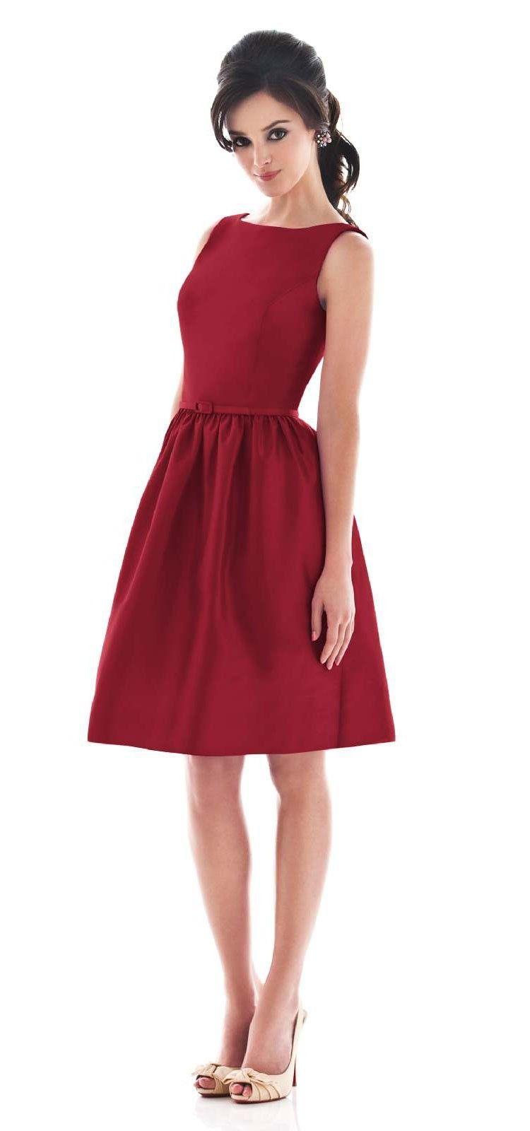 Red simple bateau neck short bridesmaid dress g danius wedding