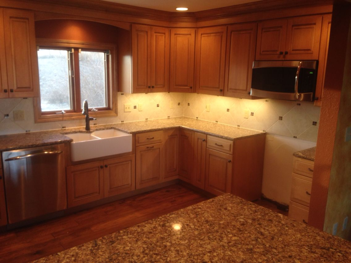 Maple cabinets with farmhouse sink   Kitchen remodel, Farmhouse ...