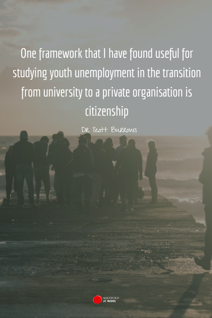 """""""One framework that I have found useful for studying youth unemployment in the transition from university to a private organisation is citizenship."""" Applied sociology is useful in studying and improving services and policies for youth."""