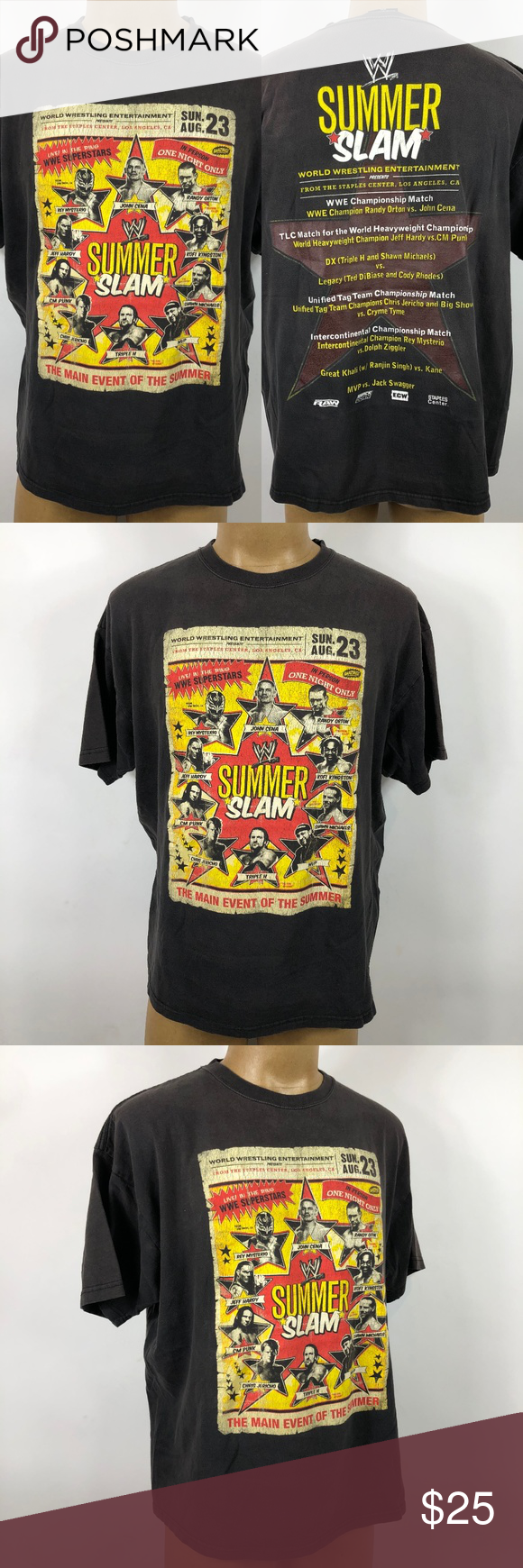 Rare Wwe Summer Slam 2010 John Cena Tshirt 2xl Wwe Shirts Shirt Length Clothing Items