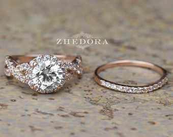 225 ct round cut engagement ring band set in solid 14k by zhedora - Etsy Wedding Rings