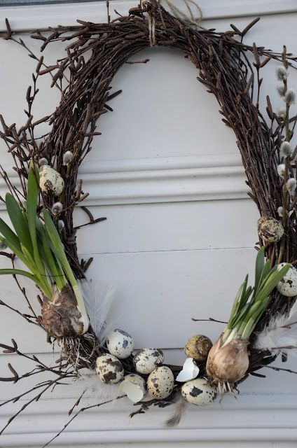 Photo of Spring Wreath – simple grapevine wreath, decorated with pussy willow, speckled e …