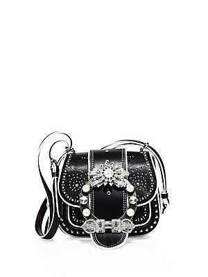 7c951dddae28 Miu Miu Dahlia Jewel-Buckle Studded Leather Shoulder Bag - Black ...