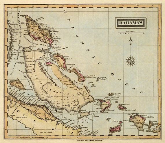 Antique map of Bahamas Old map print 16 x 185 Print