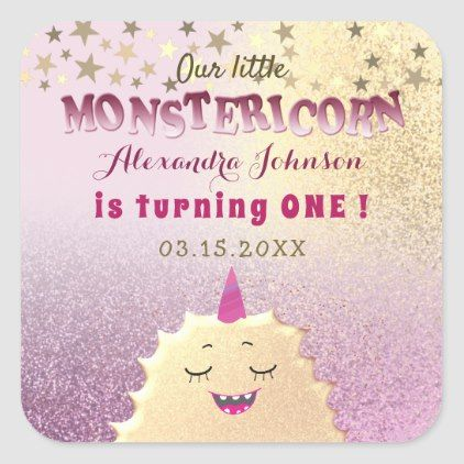 1st Birthday Little Monster Unicorn Pink and Gold Square Sticker   Zazzle com - Monster 1st birthdays, Pink and gold background, 1st birthday, Birthday stickers, Unicorn birthday, Pink and gold - Unique, adorable, cute, gold little monster  unicorn in combination with glitter, sparkling pink and gold background and beautiful gold stars  Whimsical, girly, trendy, sweet and funny 1st Birthday sticker, for baby girl  Our little Monstericorn is turning ONE!