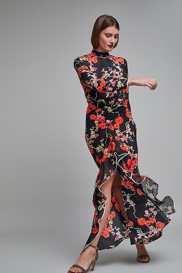 Slide View: 1: Lucy Printed Silk Maxi Dress
