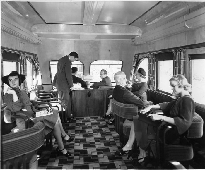 interior of milwaukee road beavertail observation car mitchell trains pinterest vintage. Black Bedroom Furniture Sets. Home Design Ideas