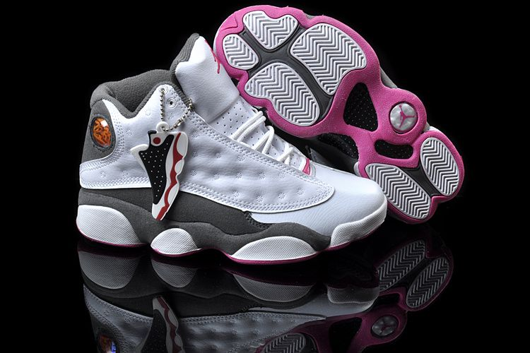 Womens Air Jordan 13 New Colors White Grey Pink Shoes