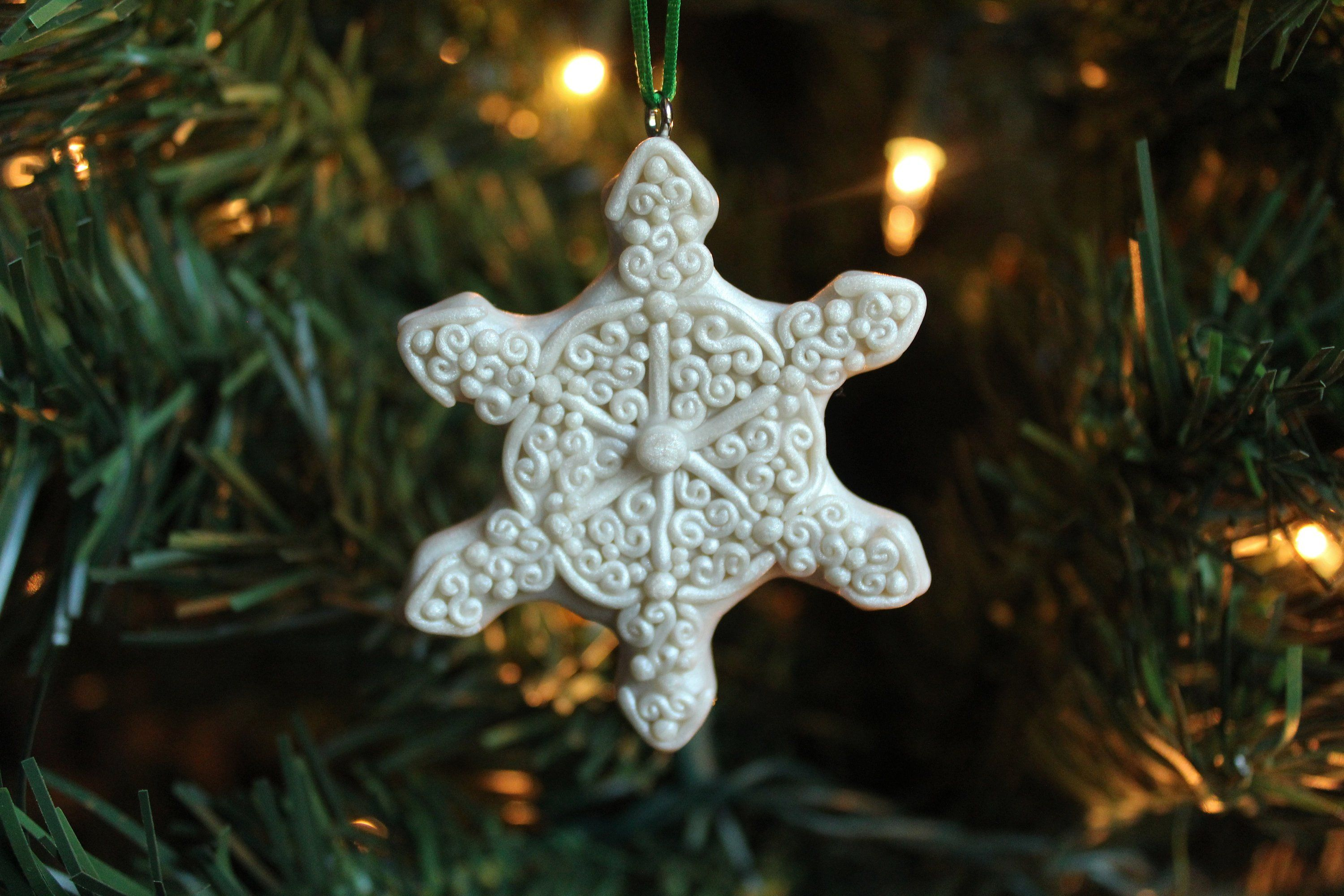 Handmade Snowflake Ornament Polymer Clay Snowflake Etsy Snowflake Ornaments Polymer Clay Christmas How To Make Ornaments