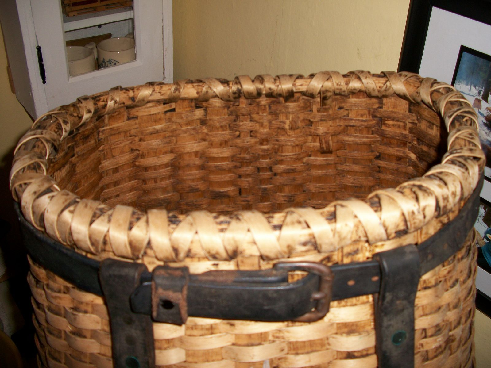"""Early """"brown ash"""" basket from Maine... black ash to us southerners ;)"""