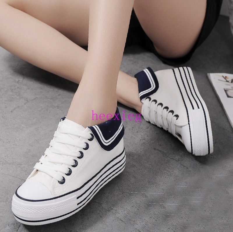 09658966b339 Womens Girls Canvas Shoes Lace Up Casual Sneakers Hidden Wedge Athletic Size