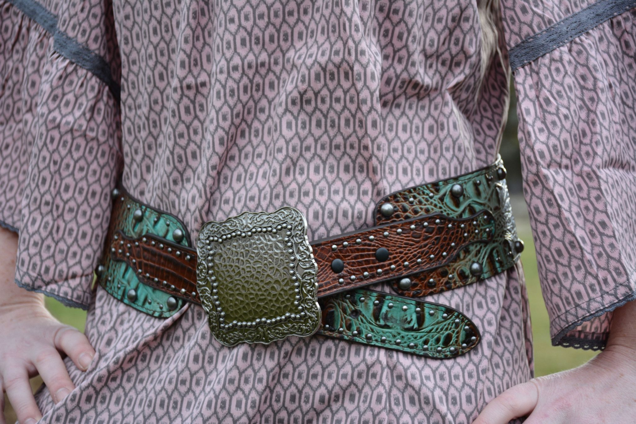 Brown & Turquoise Croc Belt
