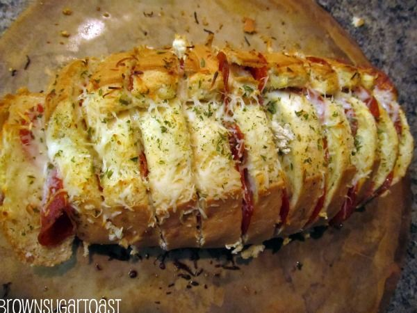 Mozzarella Pepperoni Bread. A quick and space-saving method to cook pizza-like appetizers from a single loaf of french bread.