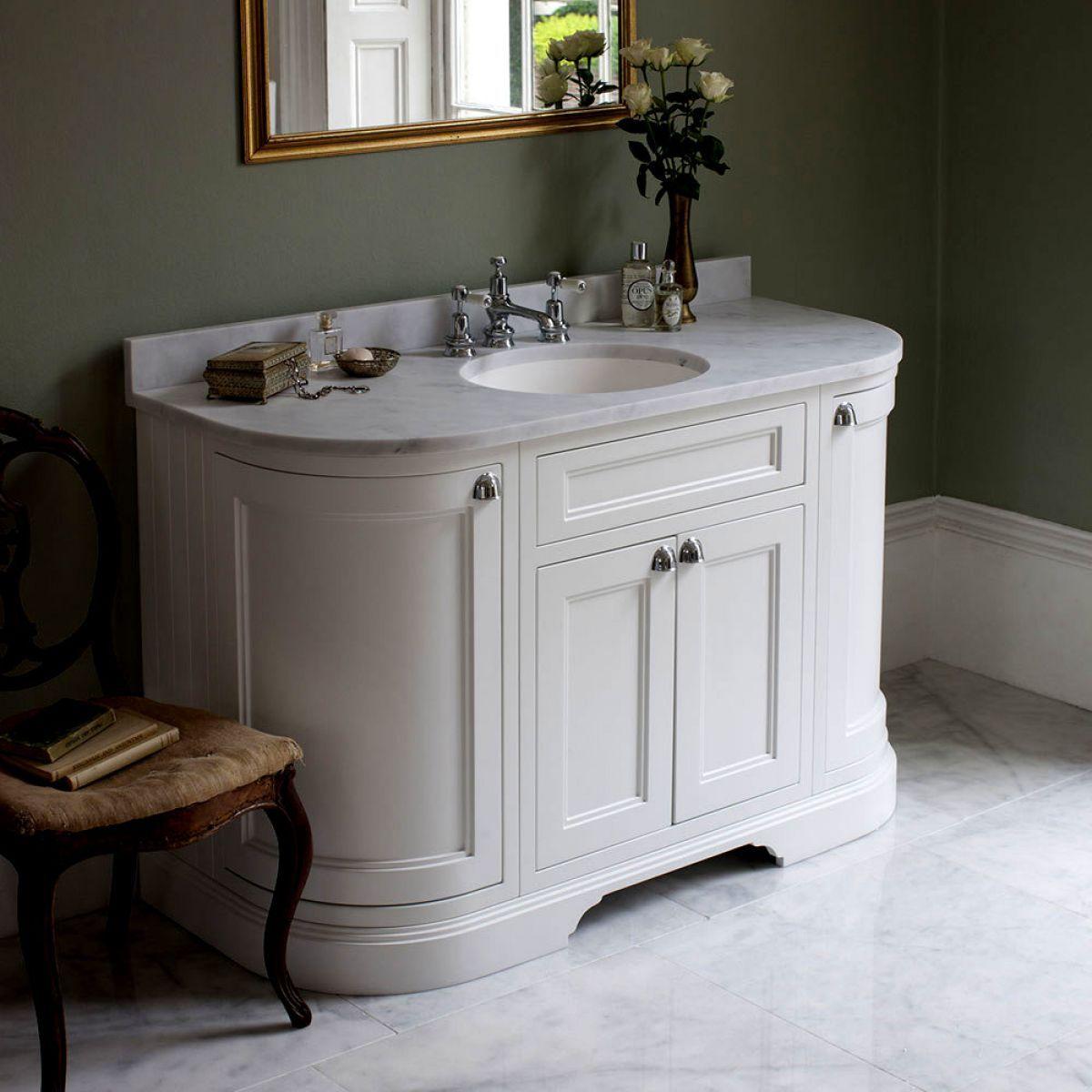 Burlington 134cm Curved 4 Door Vanity Freestanding Vanity Unit Bathroom Vanity Units Sink Vanity Unit
