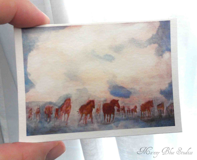 Horse Art Southwestern ACEO Miniture Print - Dust Storm. $5.00, via Etsy.