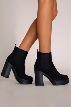 Vana Black Faux Suede Ankle Boot