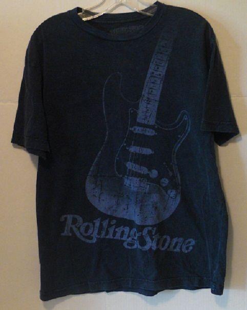 Rolling Stone Magazine Deep Blue Guitar T-Shirt Size Medium 100% Cotton #RollingStoneCollection #GraphicTee