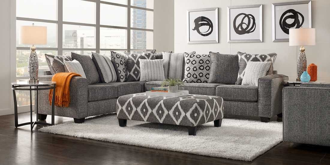 Carole Court Gray 2 Pc Sectional With Images Living Room