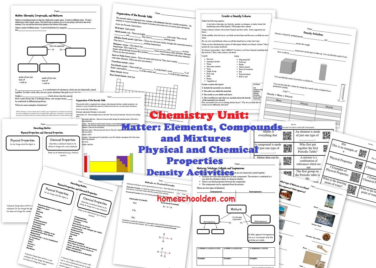 Chemistry Unit Elements Compounds Mixtures Physical And