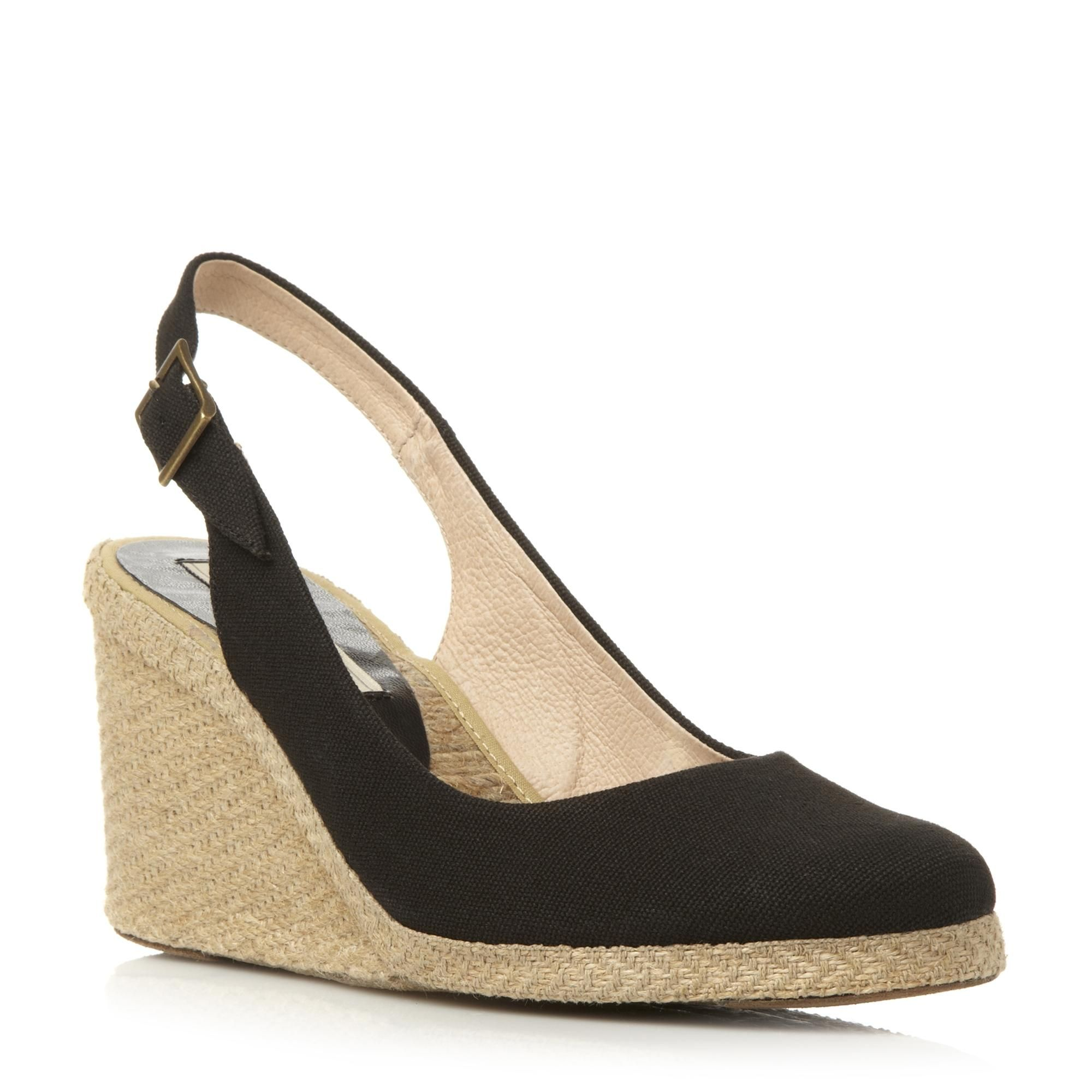 6bf168440f52 PIED A TERRE Black Slingback Espadrille Wedge