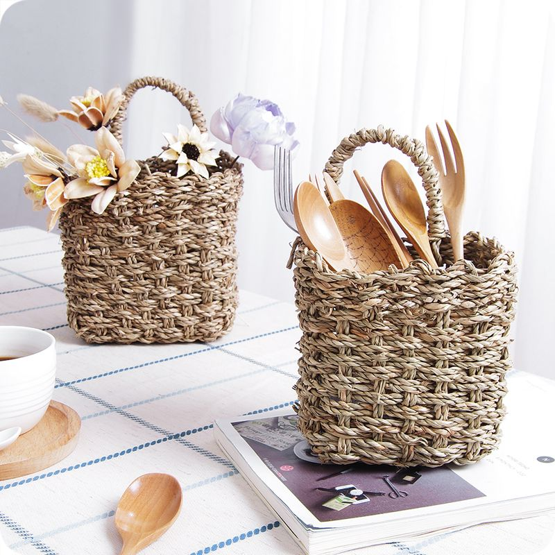 Handmade Woven Baskets Flower Tableware Container Kitchen Wall