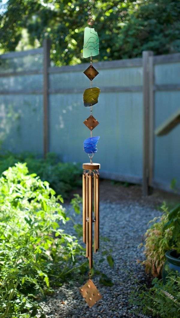 Glass and Copper Handcrafted Outdoor Wind Chime - Coast Chimes - 4