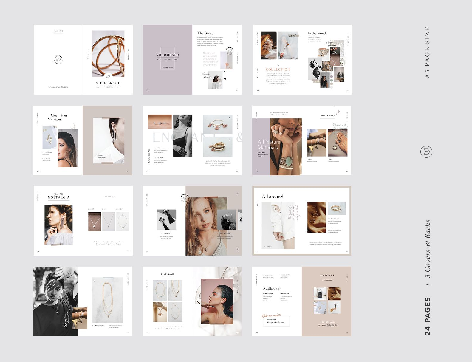 A5 Jewelry Accessories Fashion Lookbook Catalog Printable Template Or Digital Publication Brochure For Adobe Indesign Catalogue