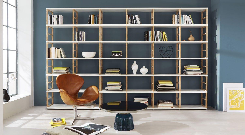 maxx 6x6 regalsystem 218x345x33 cm wei eiche home. Black Bedroom Furniture Sets. Home Design Ideas