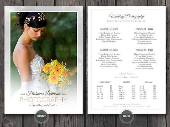 Wedding Photographer Pricing Guide / Price Sheet List 5x7 v4 - Price Sheet Template