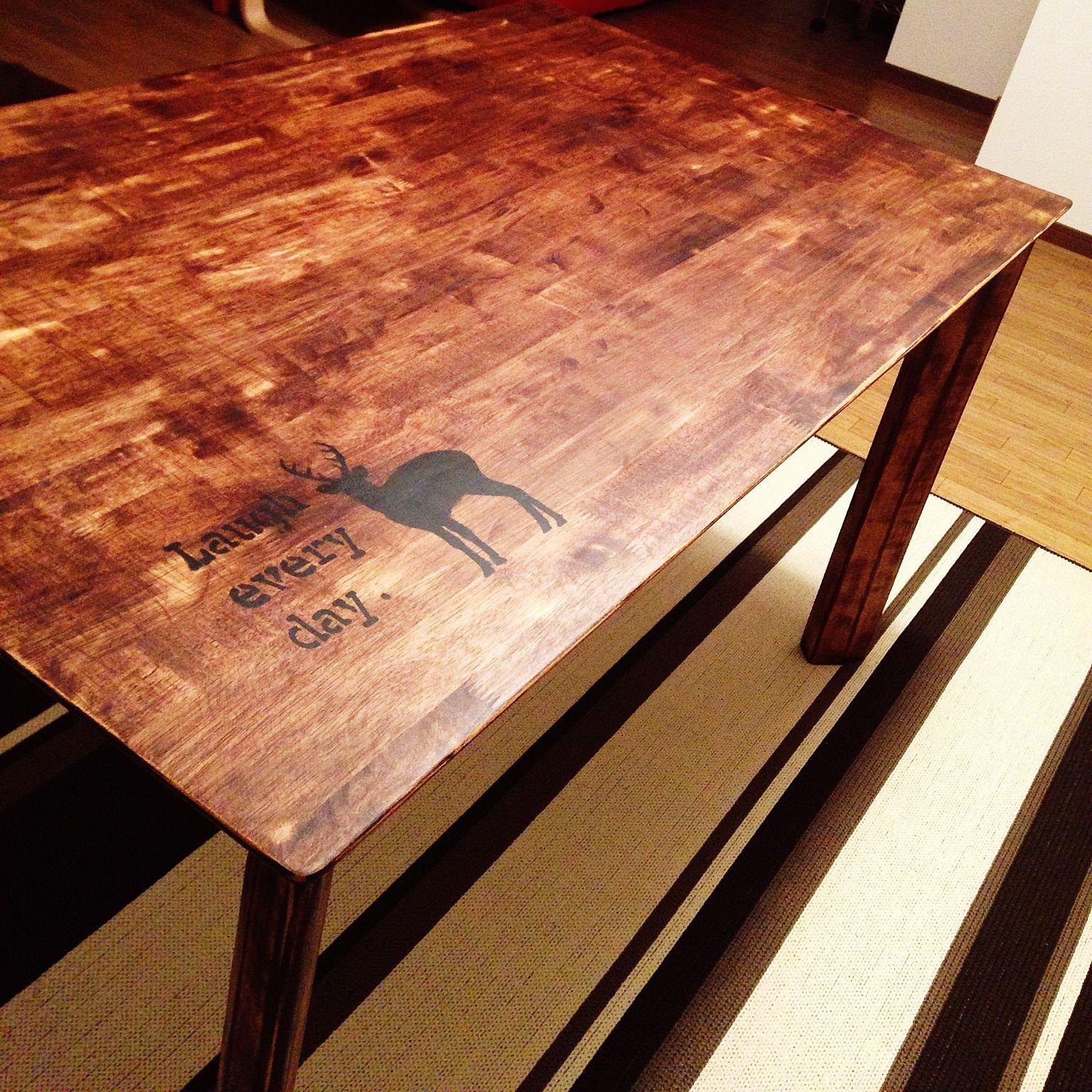 塗り替え サンダー塗装剥がし などのインテリア実例 2015 05 29 23 男性で 1ldkの塗り替え サンダー塗装 剥がし ステンシル Diy テーブル テーブル Diy 塗装 テーブル Diy テーブル