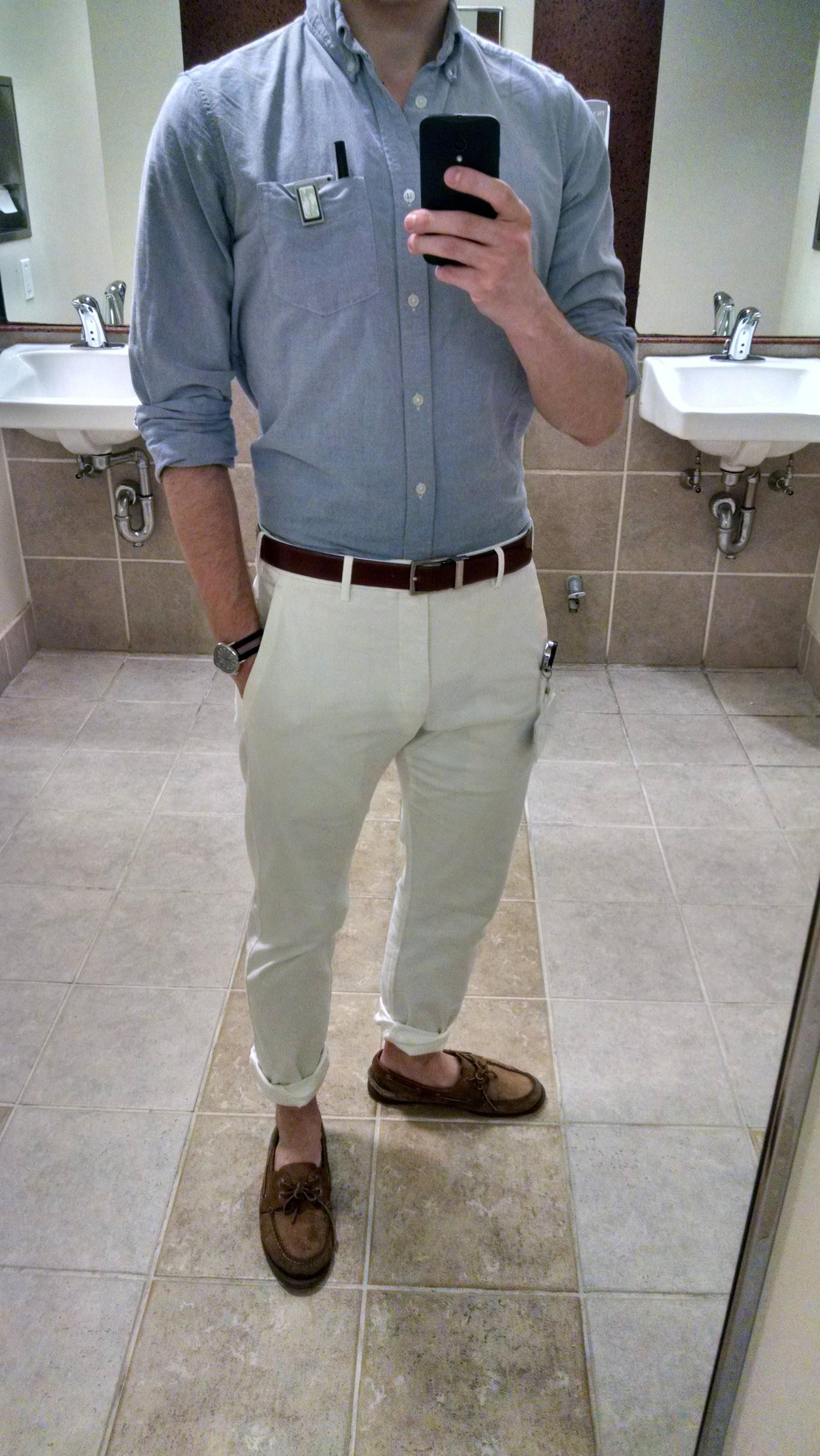 Gap lived in modern oxford Banana Republic belt Timex Weekender Uniqlo slim  fit flat front chinos
