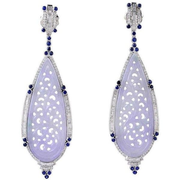 Preowned Blue Shire Lavender Jade Diamonds Gold Earrings 1 225 Huf Liked